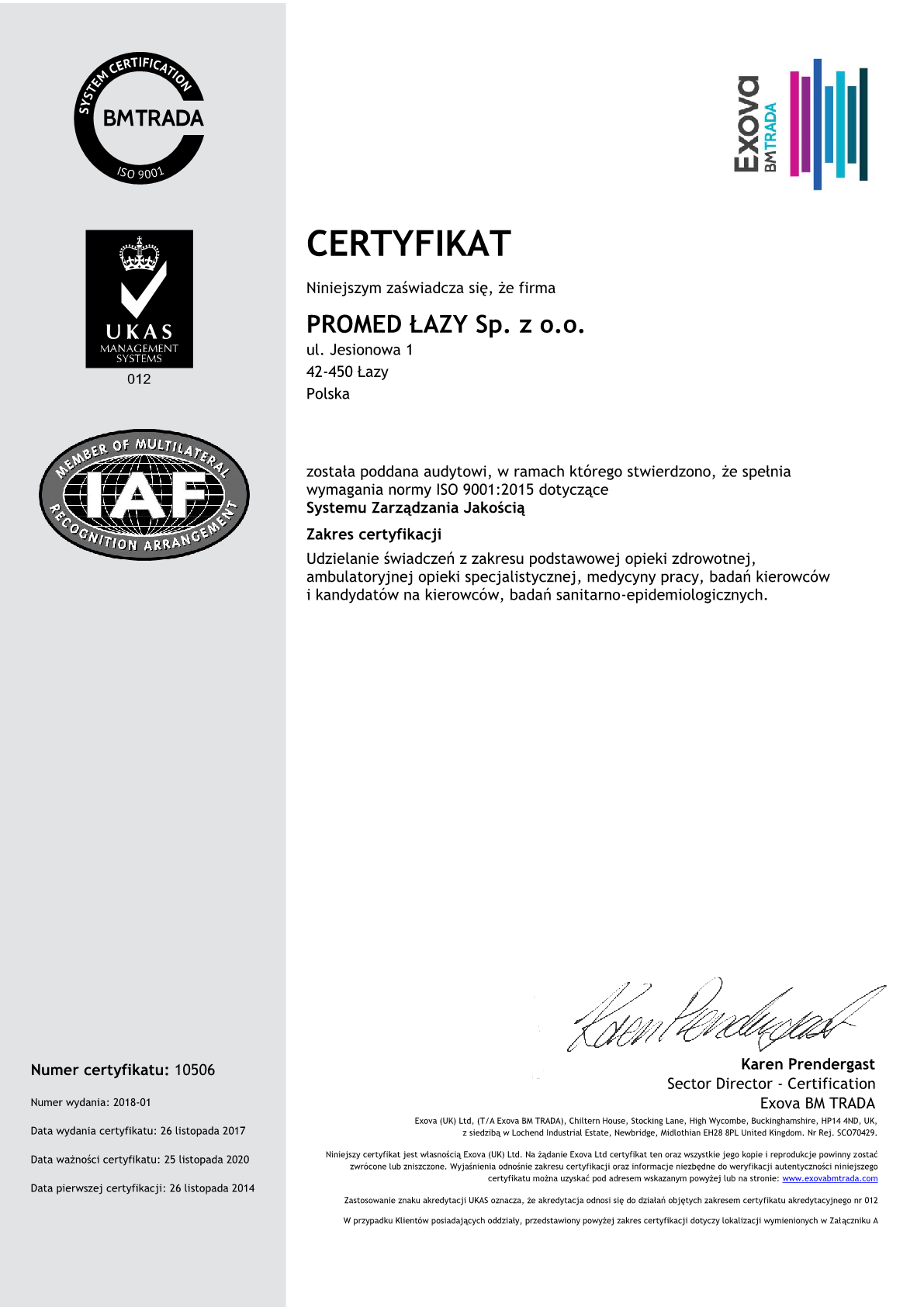 2018 Promed QMS Certyfikat PL1