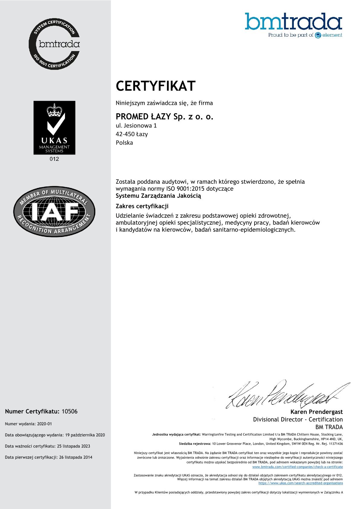 2020 Promed QMS Certyfikat PL na stronę1